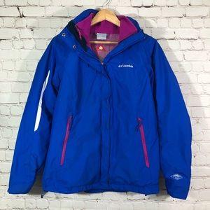 COLUMBIA INTERCHANGE OMNI-TECH Blue Hooded Jacket